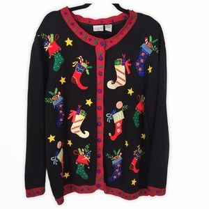 VINTAGE Holiday Sweater Cardigan Ugly Embroidered